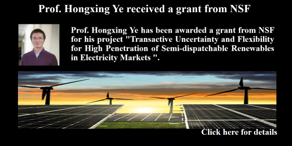 Prof. Hongxing Ye received a grant from NSF_1_6_6_17