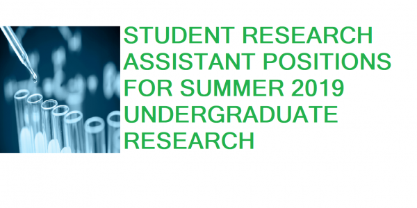 Student Research Assistant Positions for Summer 2019 Undergraduate Research.