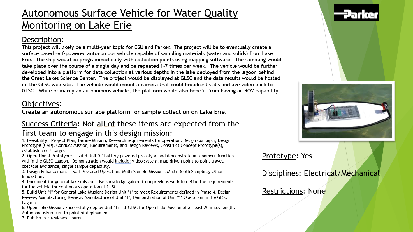 Autonomous Surface Vehicle for Water Quality Monitoring on Lake Erie