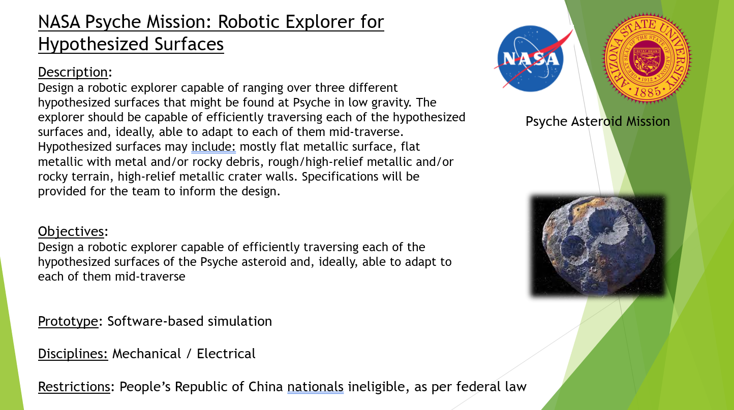 NASA Psyche Mission Robotic Explorer for Hypothesized Surfaces