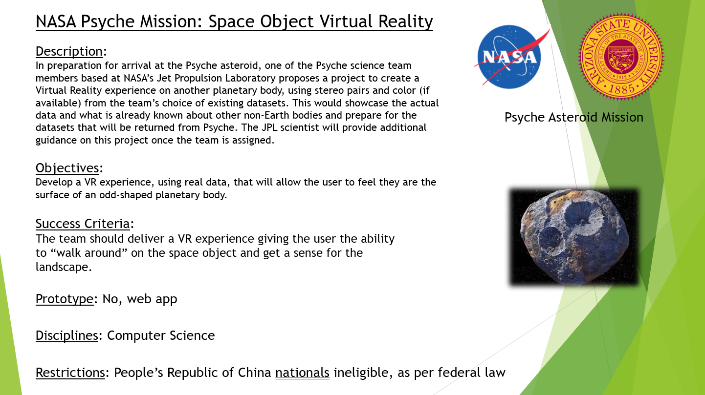 NASA Psyche Mission Space Object Virtual Reality