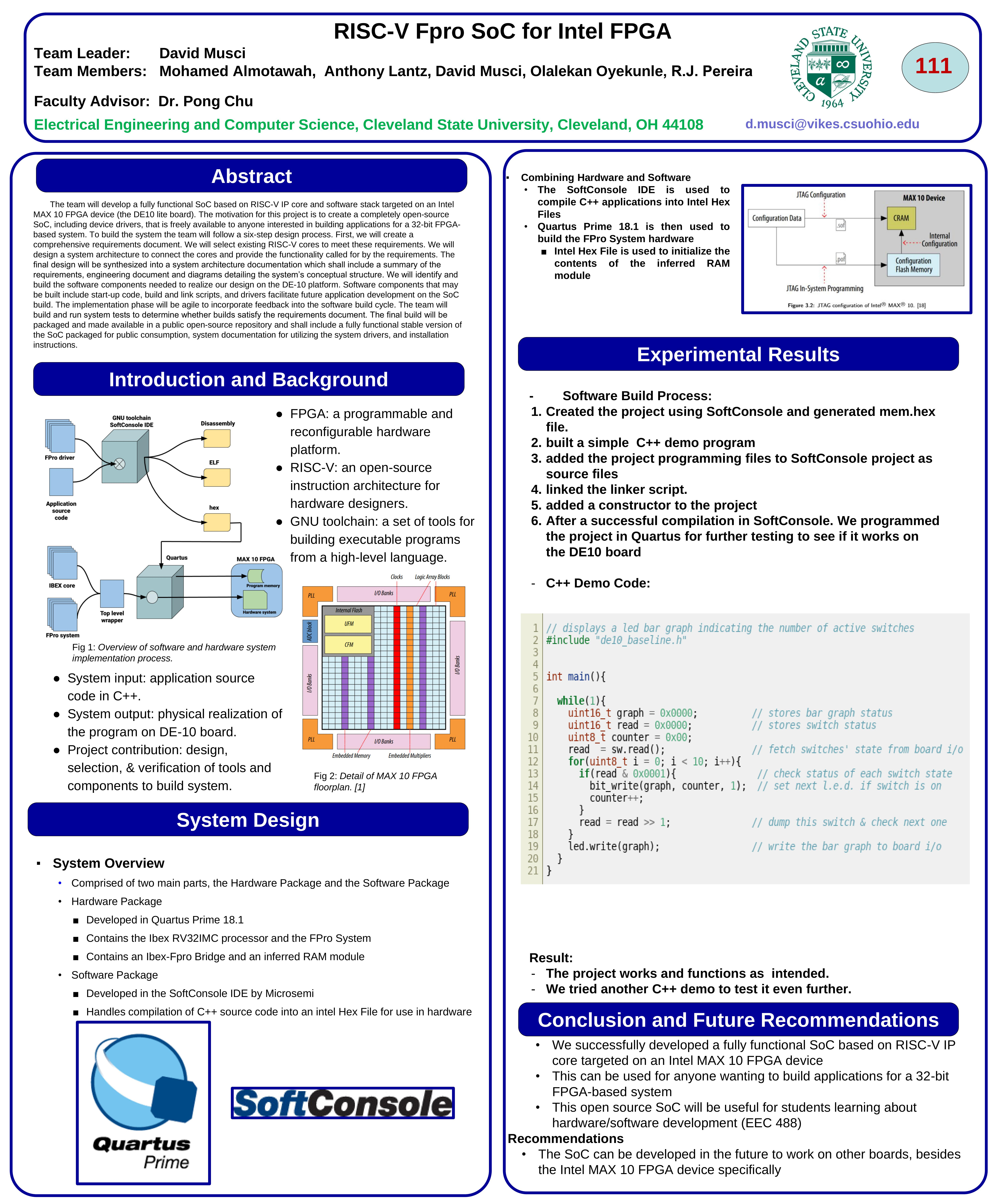 Team111_RISC-V Fpro SoC for Intel FPGA