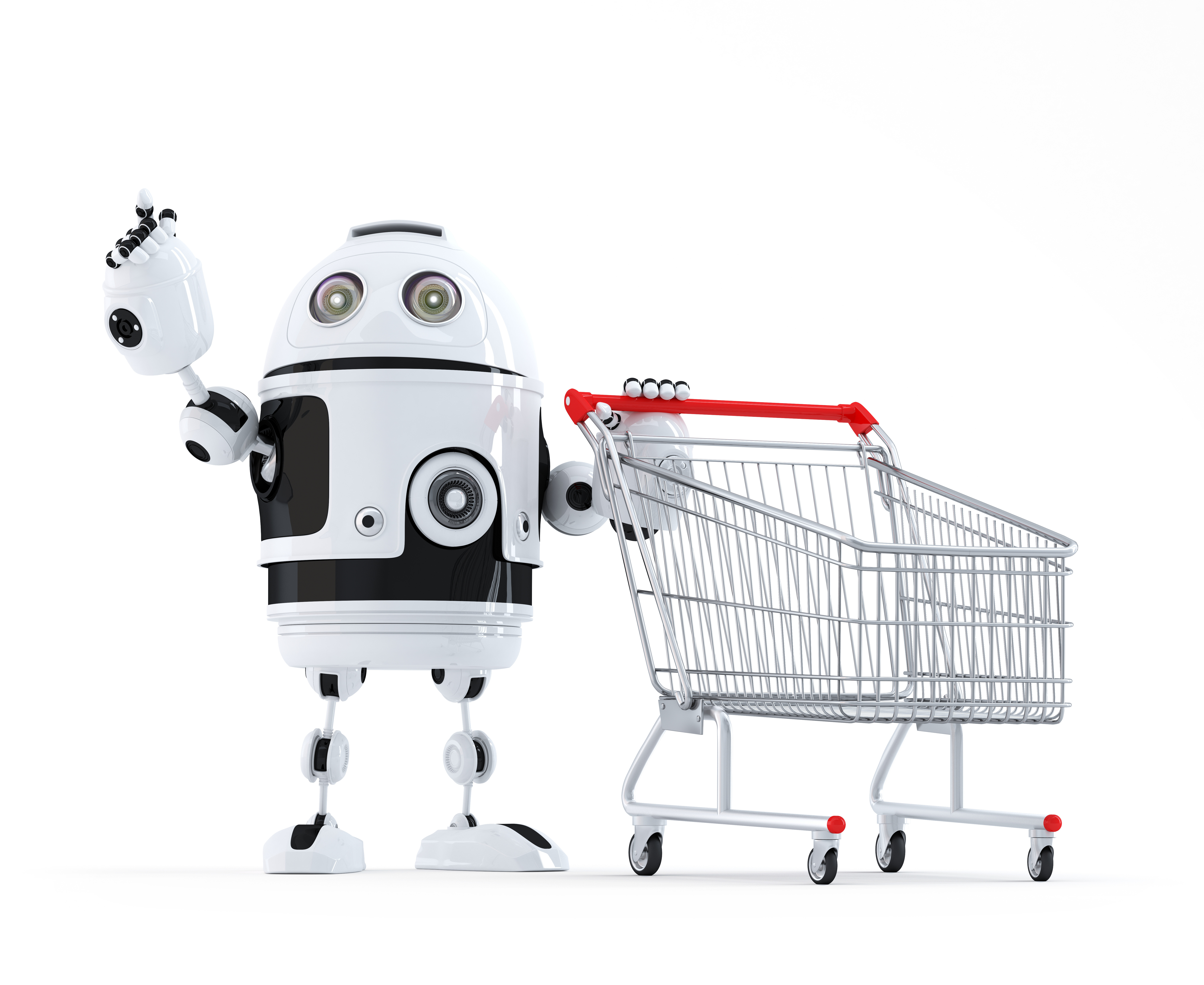 robot-with-shopping-cart-pointing-at-invisible-object