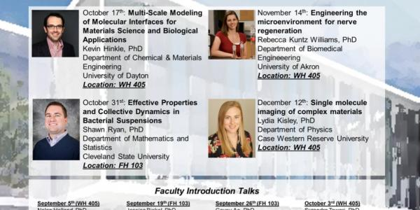 The fall 2019 seminar series are a series of speeches given at 11:30-12:30 on october 17th in WH 405. october 31st in FH 103. november 14th in WH 405, and december 12th in WH 405