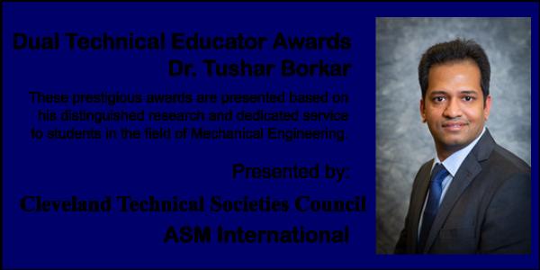 Dr. Borshar selected for two prestigious awards.
